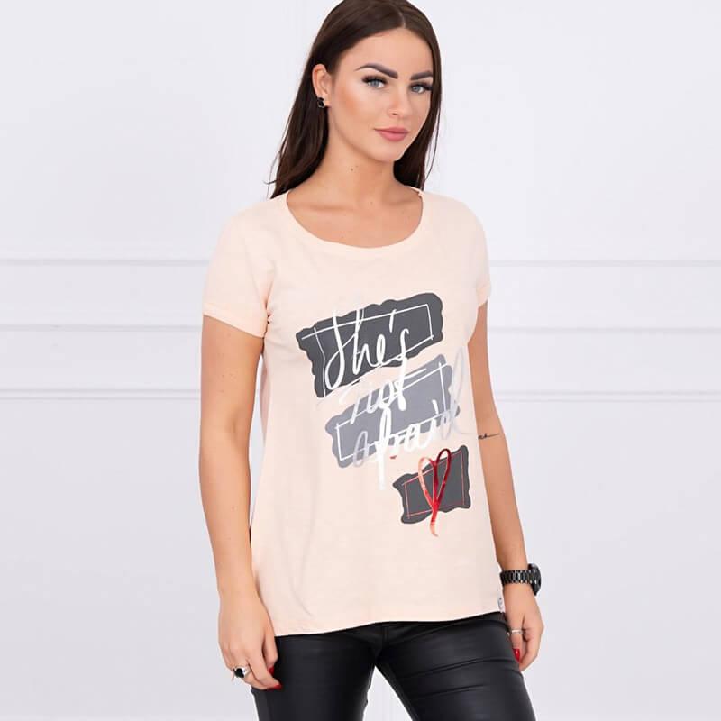 Majica Z Napisom V Barvi Breskve