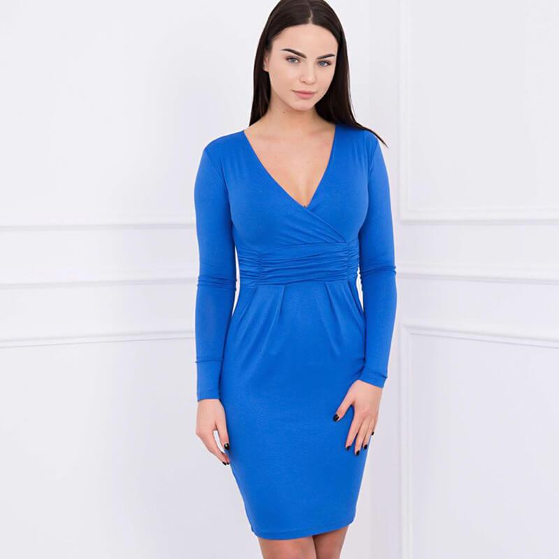 Ozka Obleka Z Dolgimi Rokavi V Modri Barvi