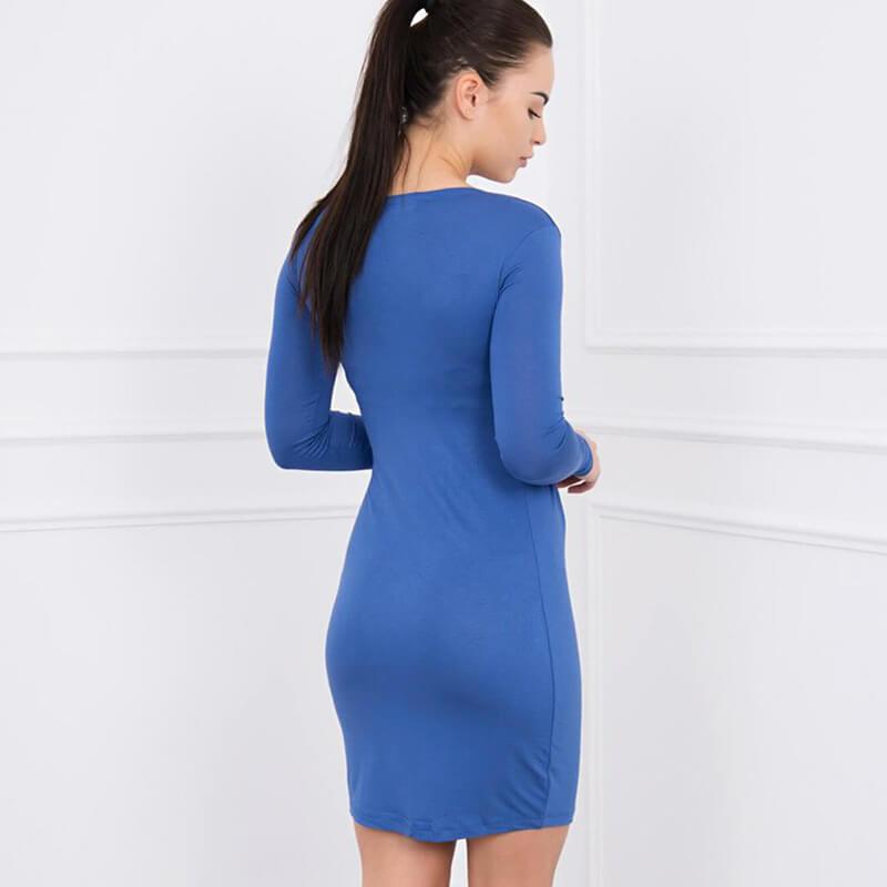 Ozka Obleka Z Dolgimi Rokavi V Svetlo Modri Barvi