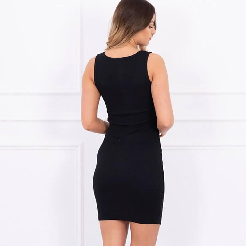 Poletna črna obleka z zadrgo