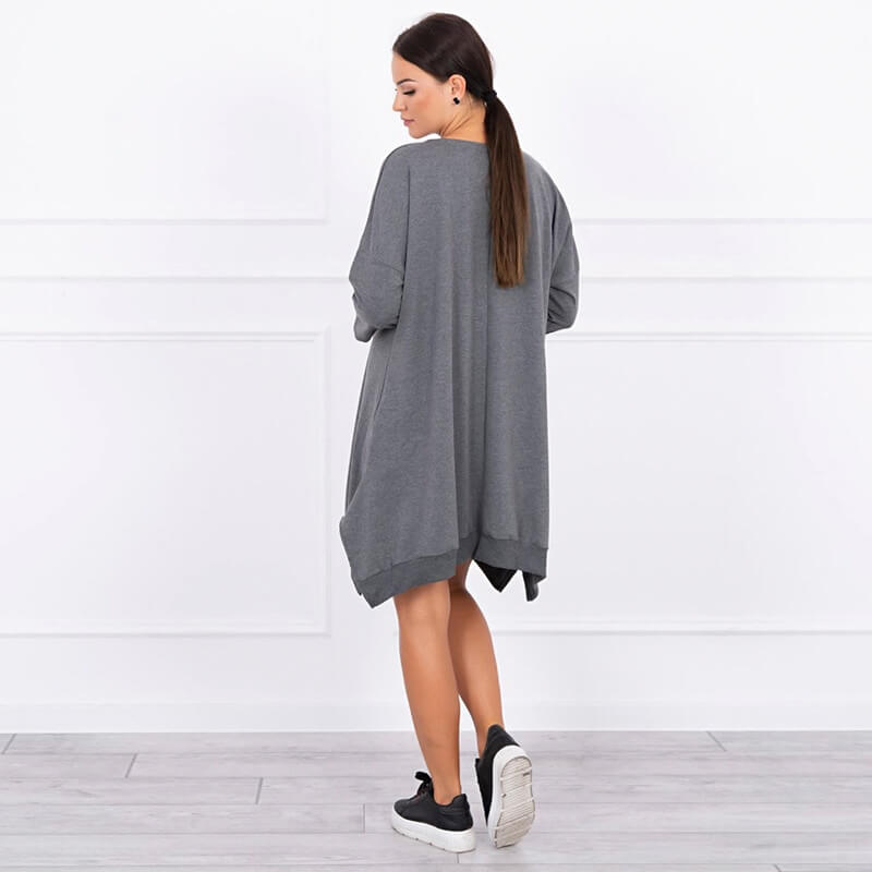 Tunika s potiskom v sivi barvi