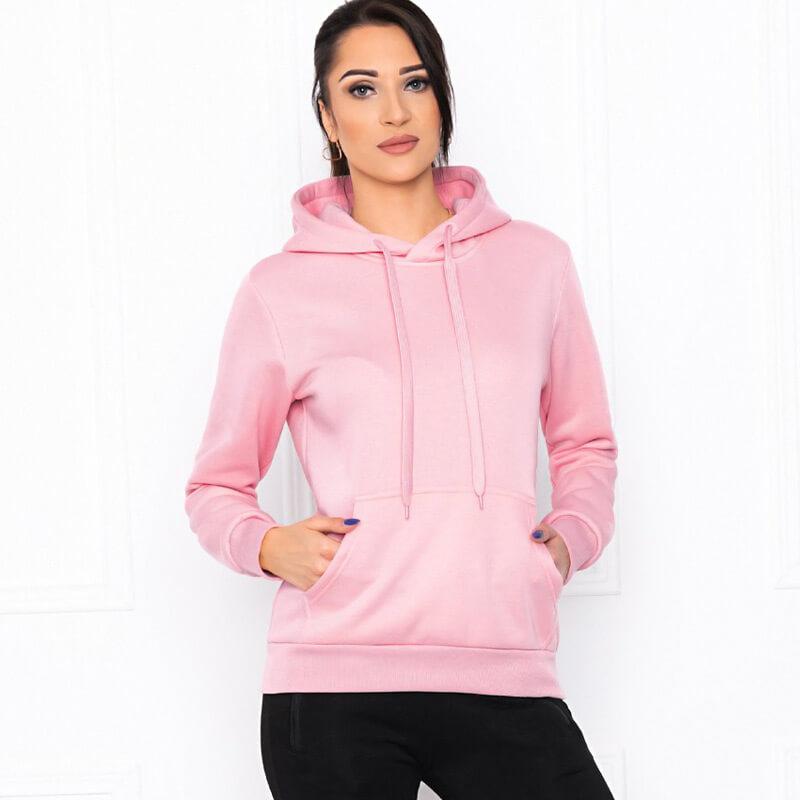 Trend pulover s kapuco v roza barvi
