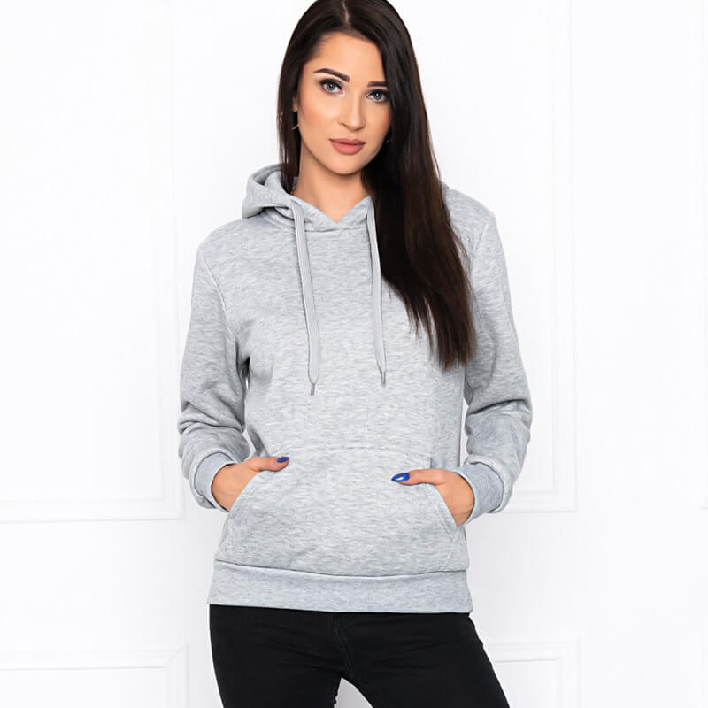Trend pulover s kapuco v sivi barvi